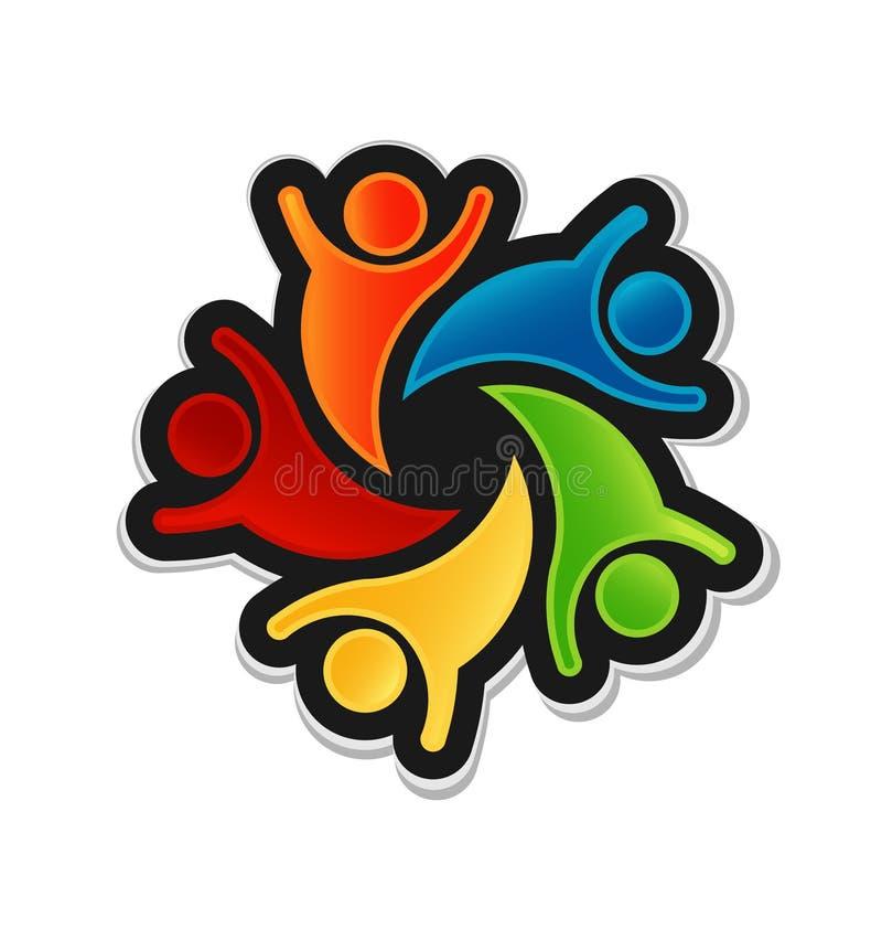 Teamwork Happy Logo vector illustration