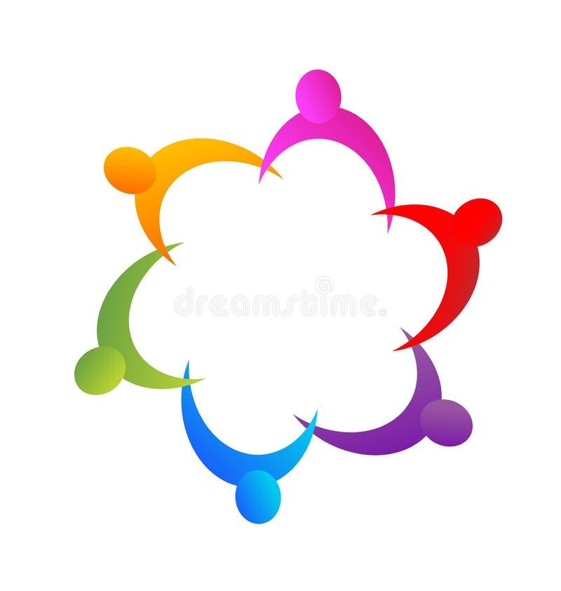 Teamwork helping hand people figures vector logo. Teamwork helping hand people figures, abstract hand work, vector logo vector illustration