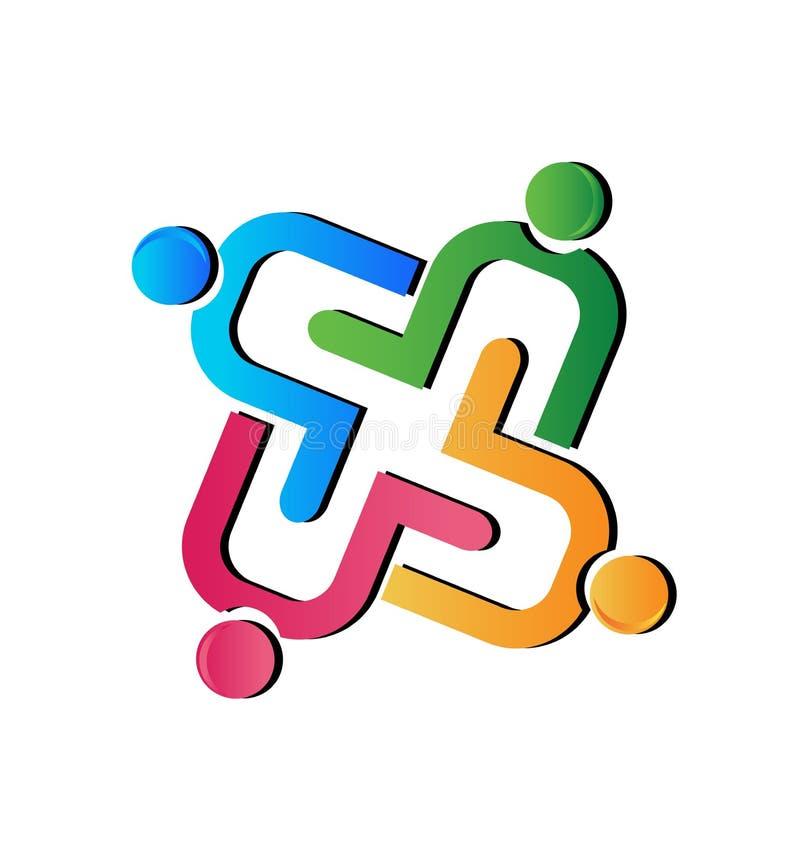 Teamwork helping hand people figures vector logo. Design illustration royalty free illustration
