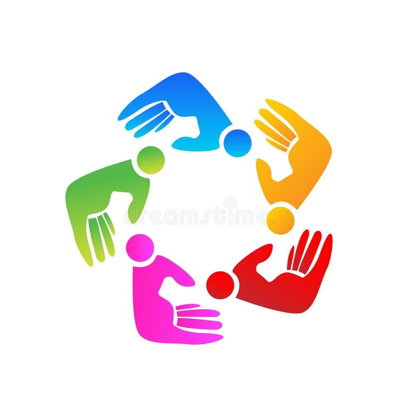 Teamwork helping hand people figures vector logo. Teamwork helping hand people figures, abstract hand work, vector logo stock illustration