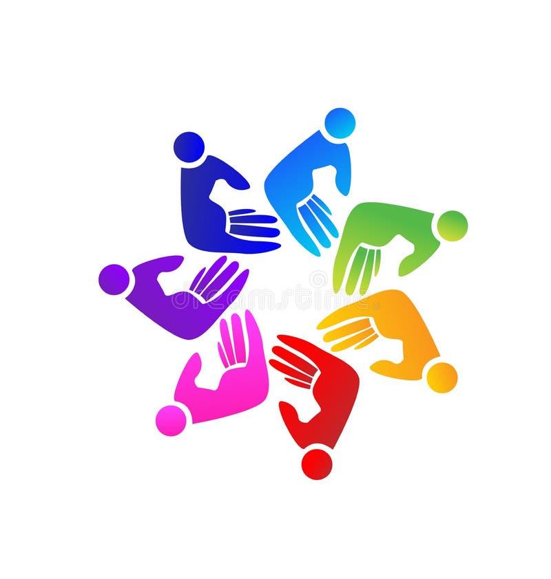 Teamwork helping hand people figures vector logo. Symbol design royalty free illustration