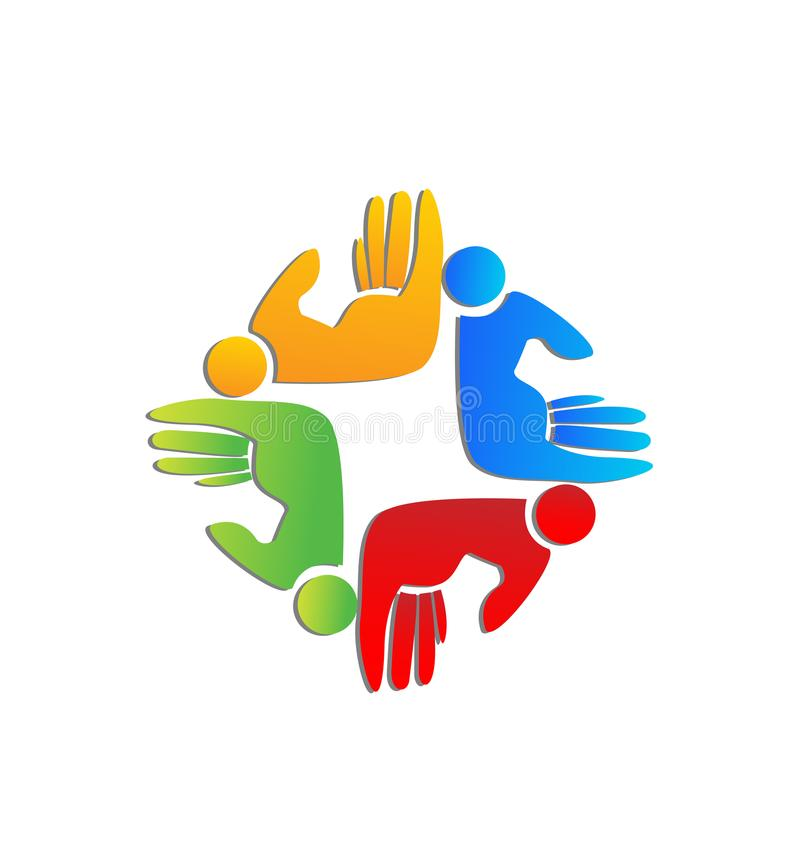 Teamwork helping hand people figures vector logo. Vector design stock illustration