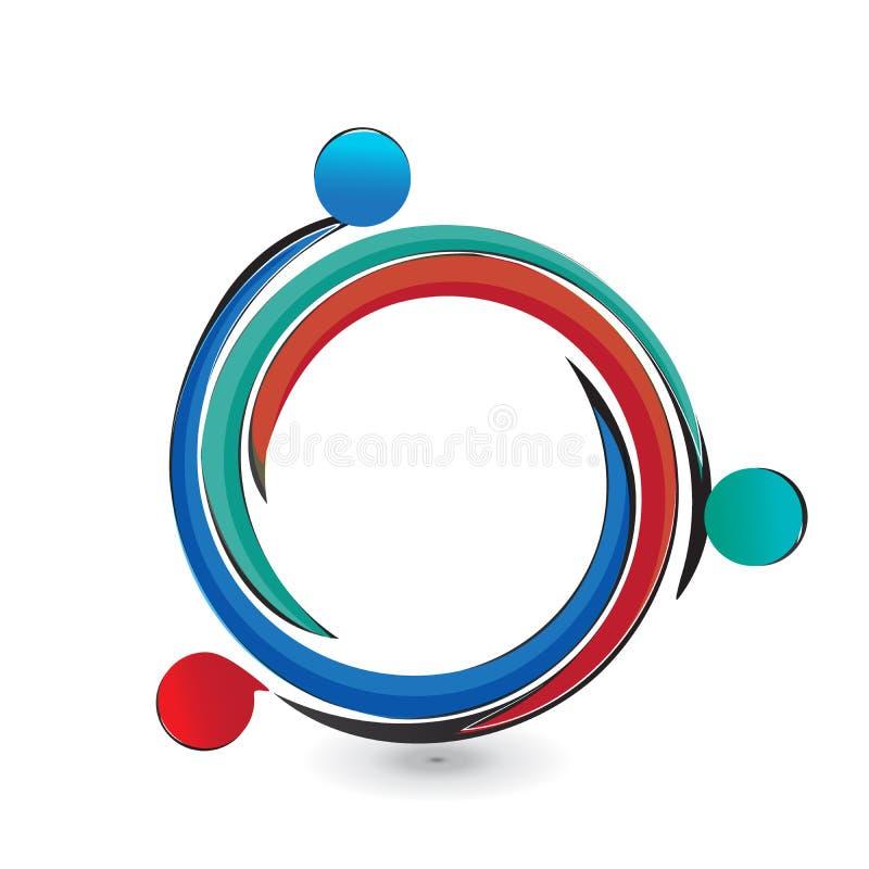 Teamwork helping people logo. Teamwork helping people circle icon logo vector design stock illustration