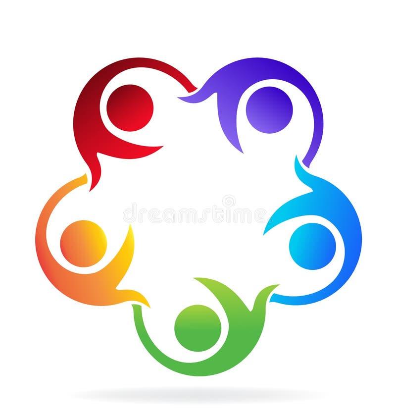 Teamwork helping people logo. Teamwork helping people vector image royalty free illustration