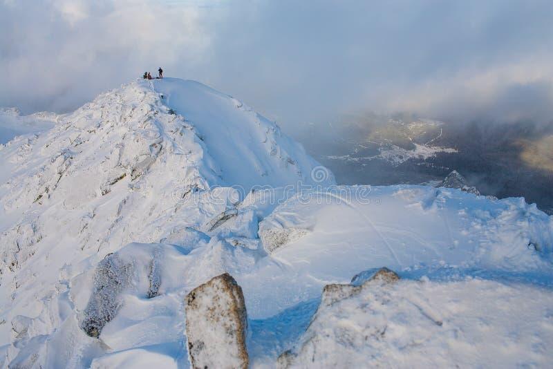 Teamwork i alpinism bergsbestigning Travers av berget arkivbild