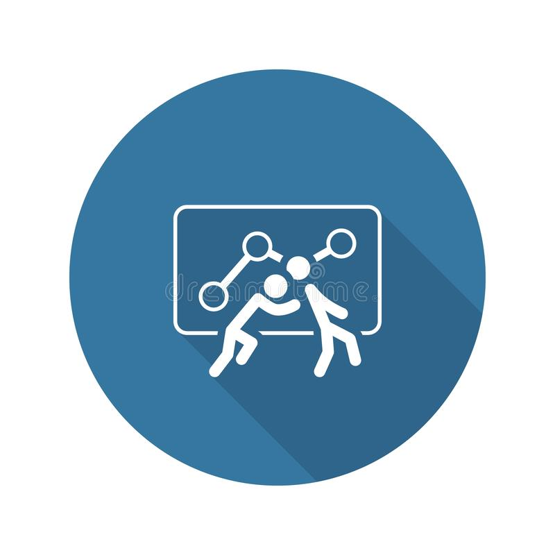Teamwork Icon. Flat Design. One Person Pushes Another. Isolated Illustration. App Symbol or UI element vector illustration