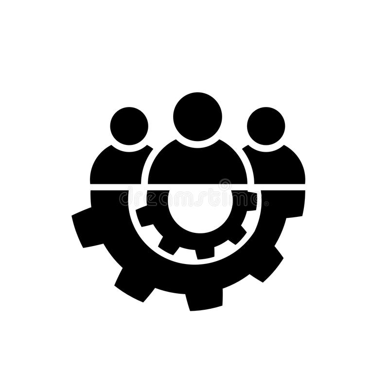 Teamwork icon in flat style. Team and gear symbol vector illustration