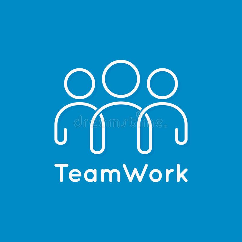 Teamwork icon line business concept on blue background. 10 eps royalty free illustration