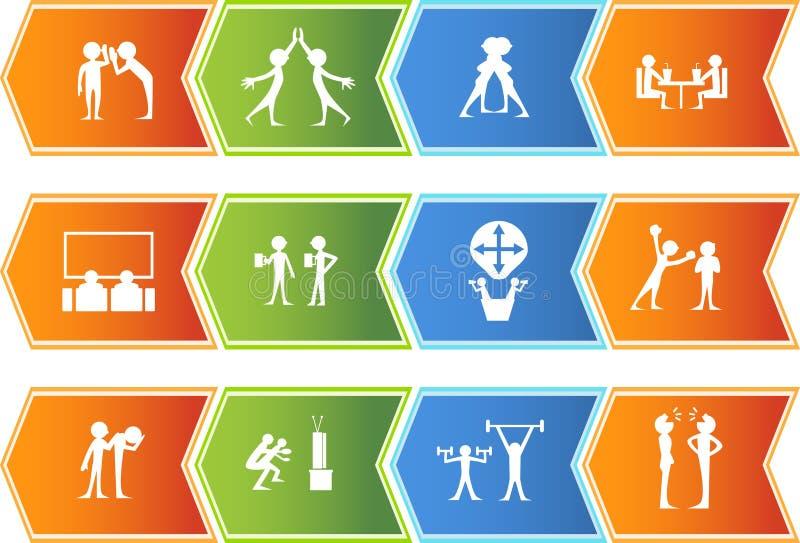 Teamwork Icon Set: Arrow Button Series stock illustration