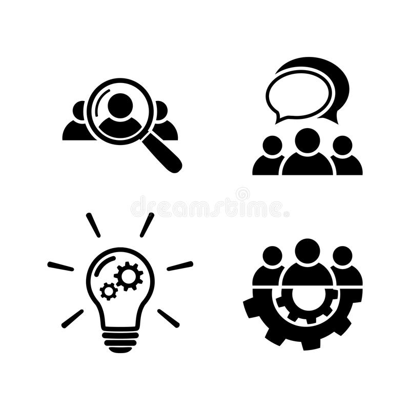 Teamwork icon set in flat style vector illustration