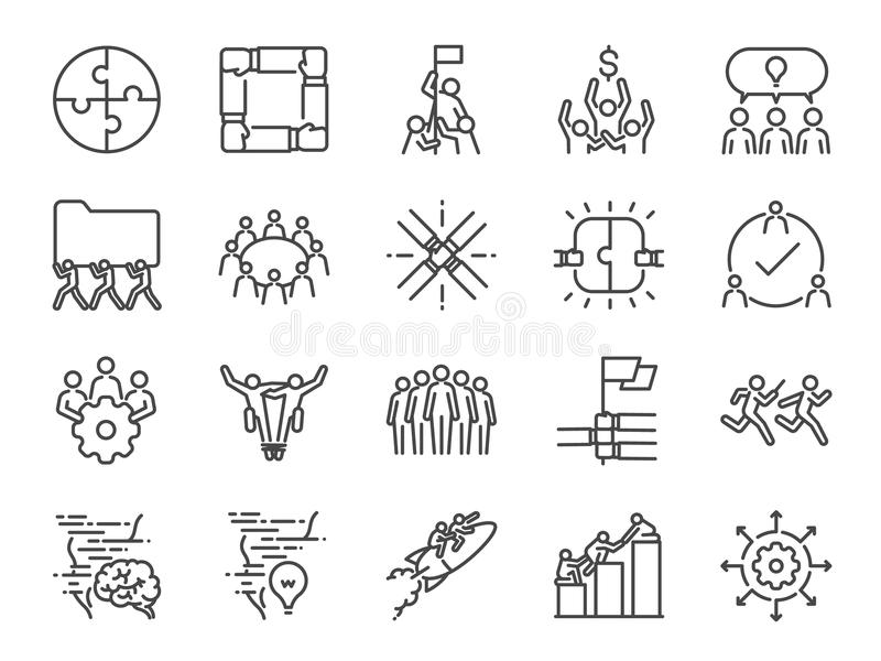 Teamwork icon set. Included the icons as company, collaboration, participation, success, together, business, unity, people and mor stock illustration