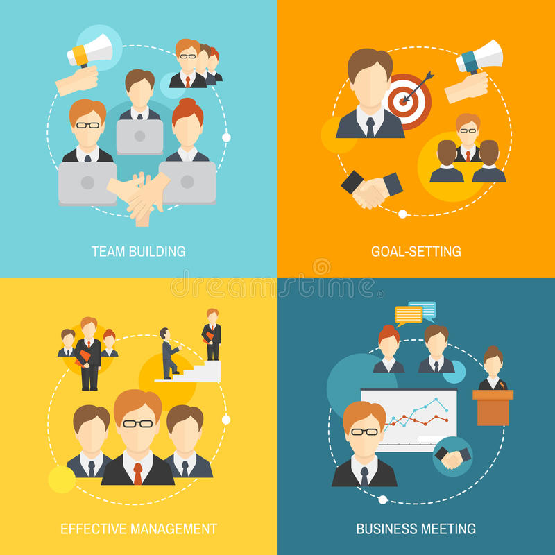 Teamwork icons flat stock illustration
