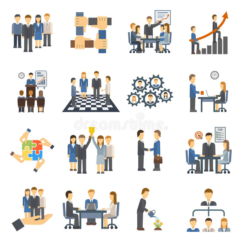 Teamwork icons set group symbol communication social design person meeting vector illustration. Teamwork icons partnership success and organization community stock illustration