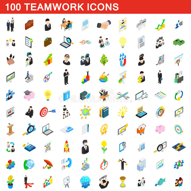 100 teamwork icons set, isometric 3d style vector illustration