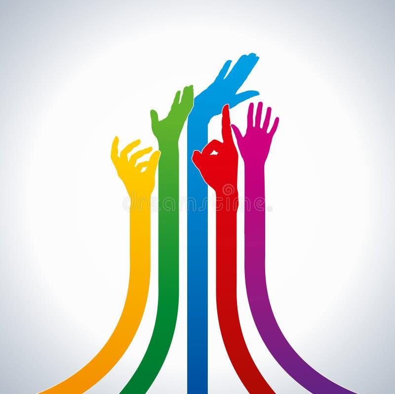Teamwork idea,colorful hands stock illustration