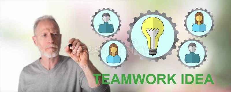 Man drawing teamwork idea concept. Teamwork idea concept drawn by a man royalty free stock photos