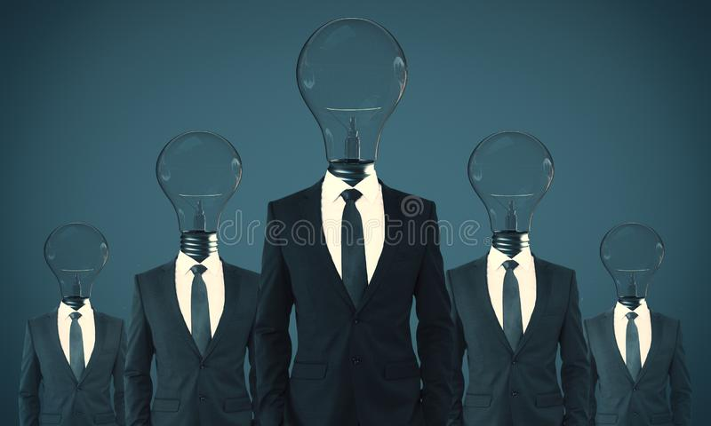 Teamwork and idea concept. Lamp headed businesspeople standing on blue background. Teamwork and idea concept royalty free stock images