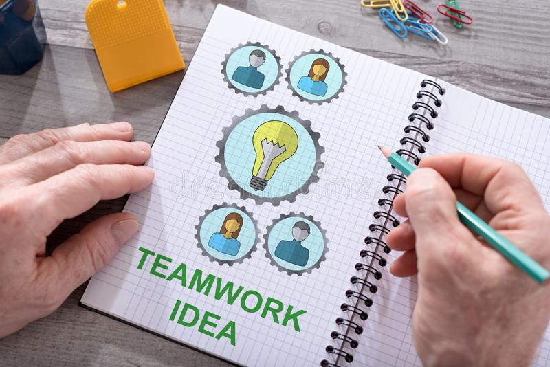 Teamwork idea concept on a notepad. Teamwork idea concept drawn on a notepad placed on a desk royalty free stock photo