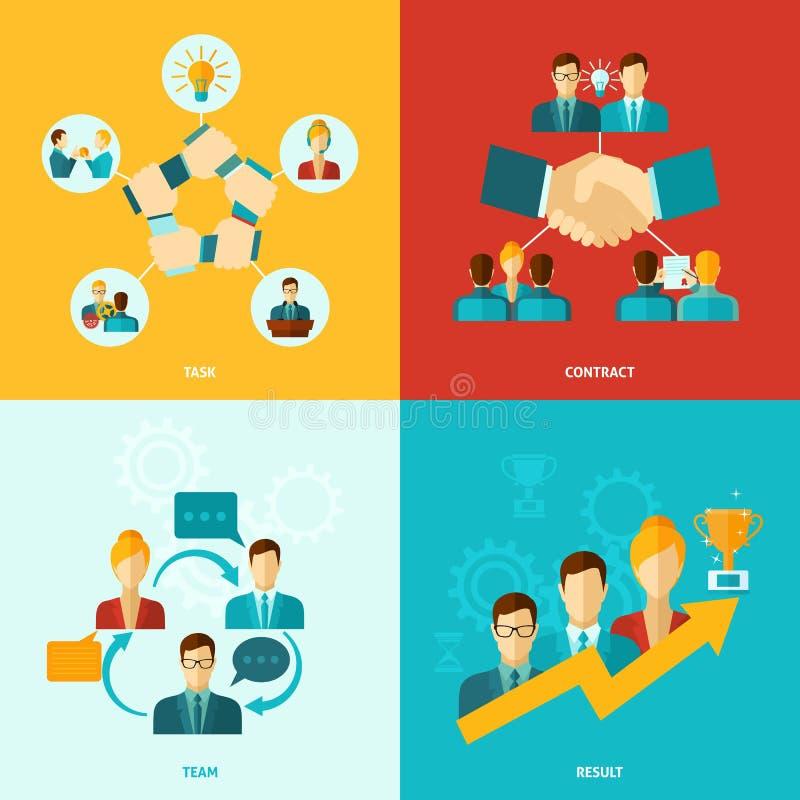 Teamwork-Ikonen flach stock abbildung