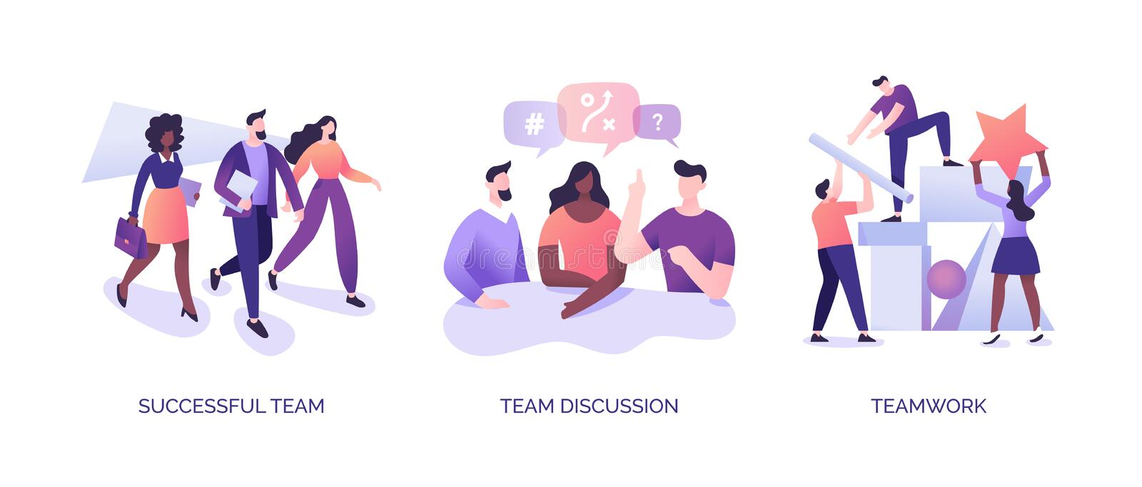 Teamwork Illustrations Set. The basics of teamwork. Communication and coordination in a team. Colleagues achieve success together. Vector illustrations for vector illustration