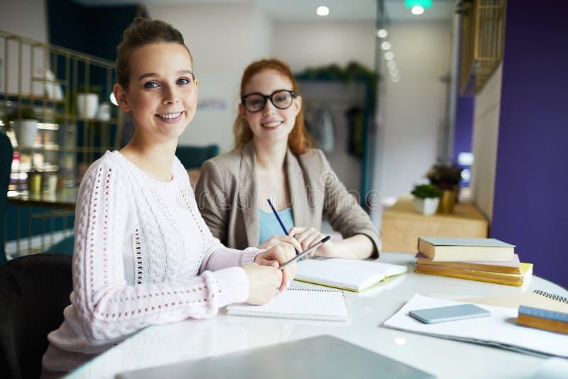 Teamwork im Café stockbilder