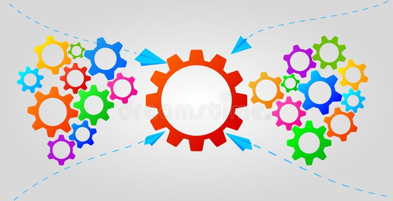 Teamwork infographic concept with colorful gears icons. Business strategy, leadership. Idea of partnership and collaboration. royalty free illustration