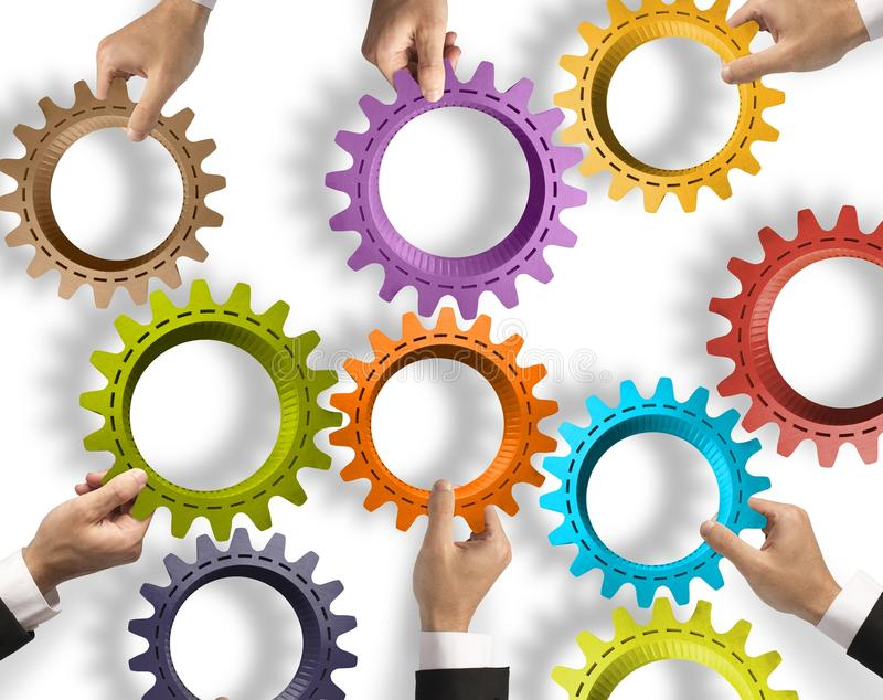 Teamwork and integration concept. With gear system royalty free stock photos