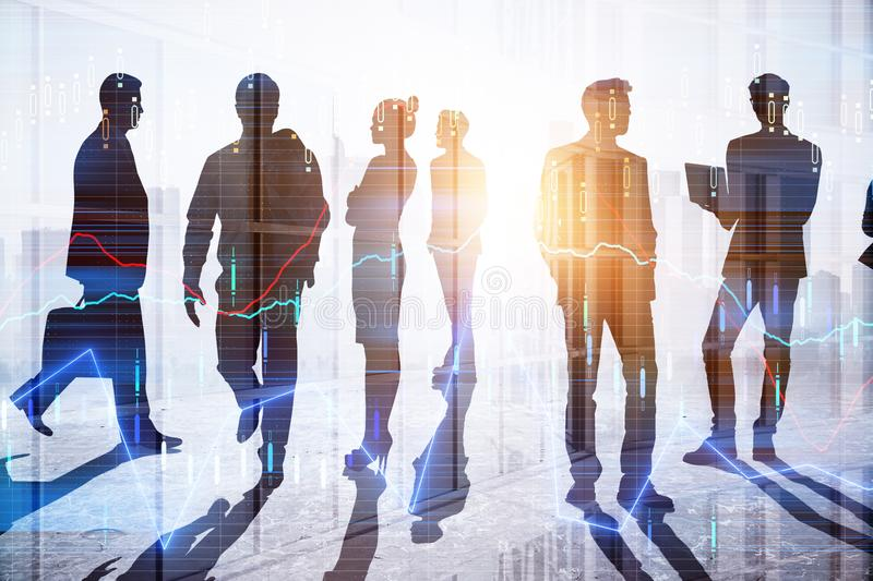 Teamwork and investment concept. Businesspeople silhouettes with forex chart standing on abstract city background. Teamwork and investment concept. Double stock illustration