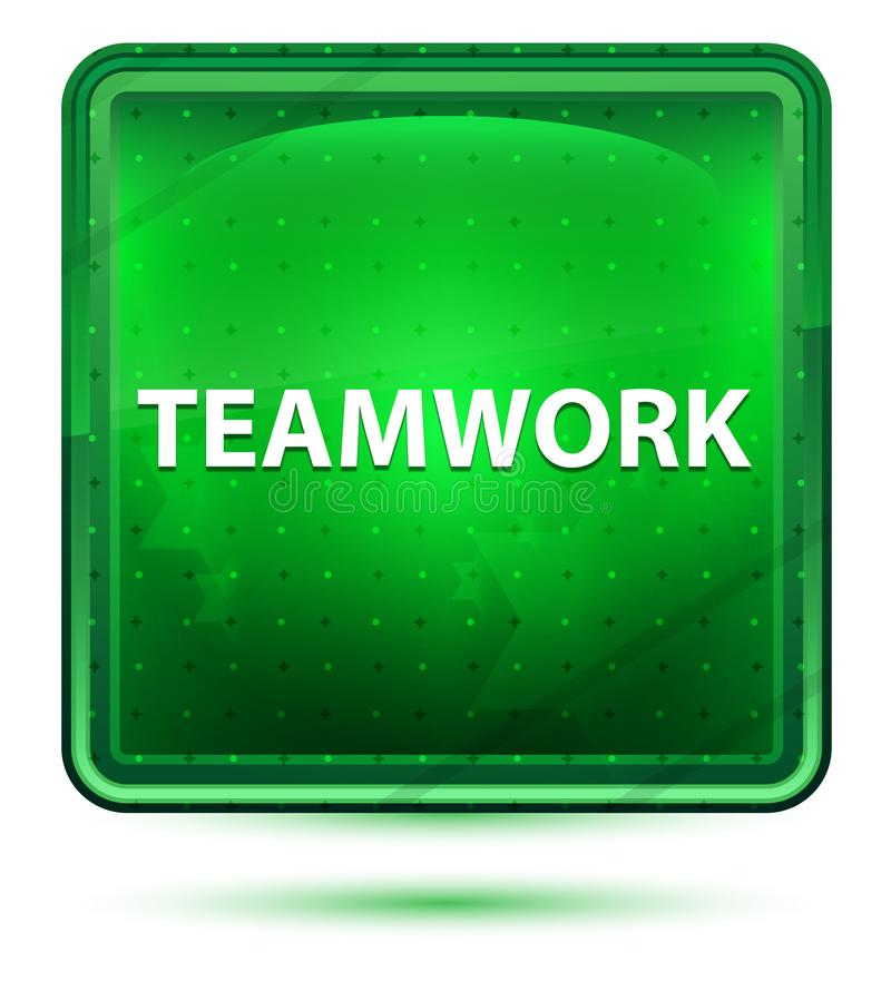 Teamwork Neon Light Green Square Button vector illustration