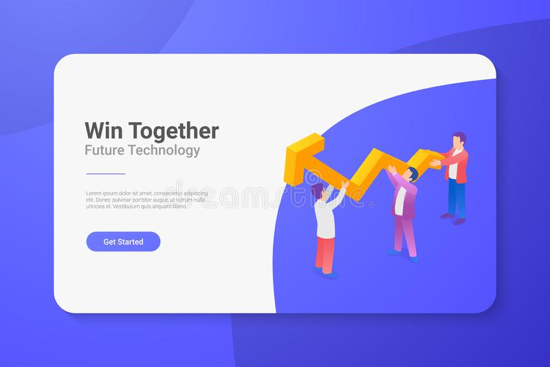 Teamwork Isometric Flat vector illustration concept. Team People helping business to grow stock illustration