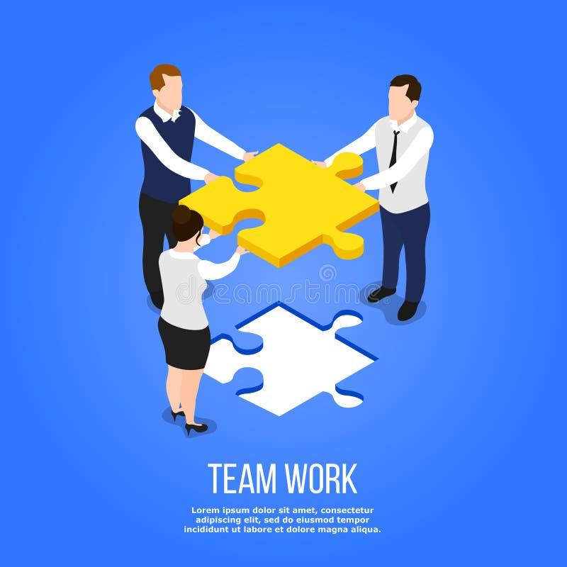 Teamwork Isometric Puzzle Concept stock illustration