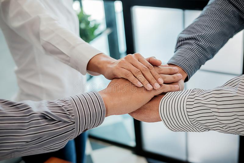 Teamwork Join Hands Support Together Concept. Business Team Coworker Brainstorming Meeting Concept royalty free stock photos