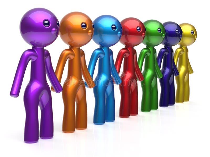 Teamwork-Kettenlinie Leute des Freundcharaktersozialen netzes vektor abbildung