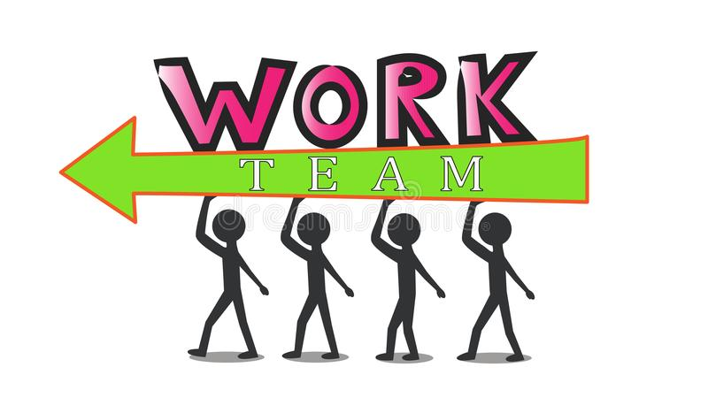 Teamwork is the key to success. Success requires teamwork. Each team member makes effort and contributes towards the team`s achievement vector illustration