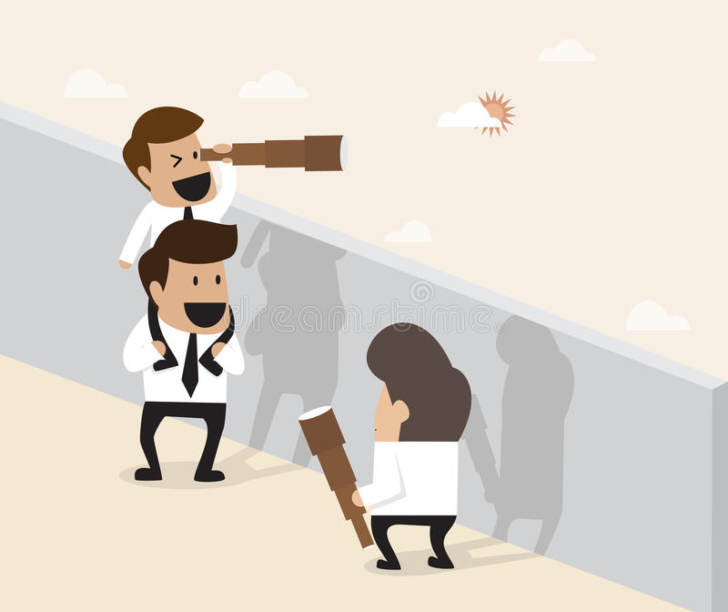 Teamwork-Konzept: Geschäftsmann tun die Pyramide, die für ferther akrobatisch ist vektor abbildung
