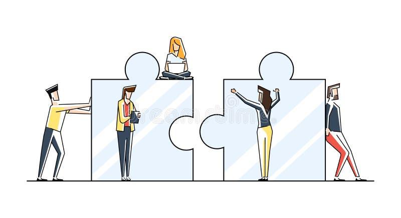 Teamwork-Konzeptfahne Kann f?r Netzfahne, infographics, Heldbilder verwenden Flache Linie Kunstvektorillustration lokalisierte stock abbildung