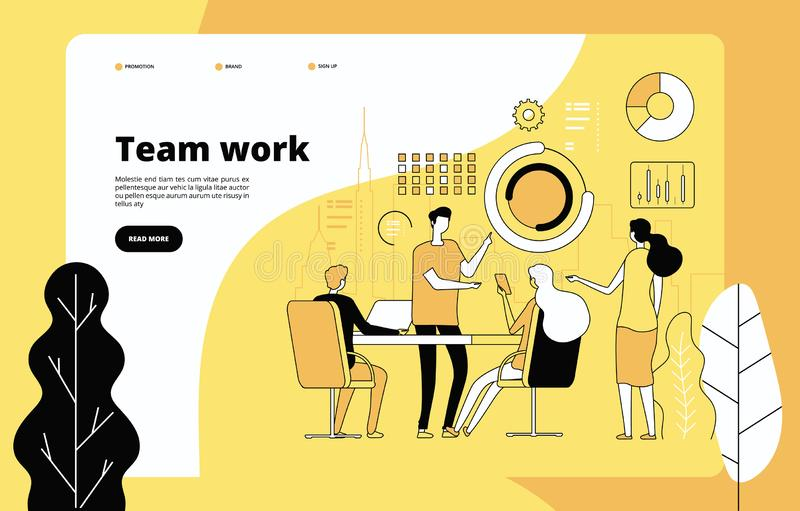 Teamwork landing page. Employees working together. Data analysis, effective professional cooperation. Startup vector web stock illustration