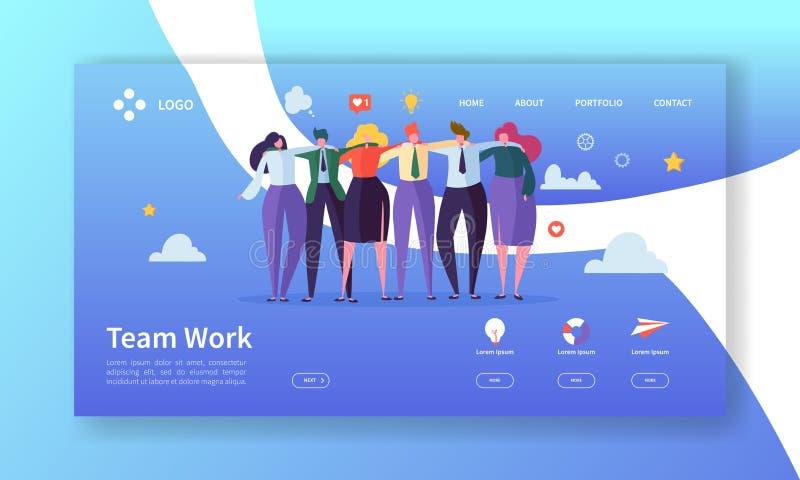 Teamwork-Landungs-Seiten-Schablone Kreatives Prozesskonzept mit den flachen Leute-Charakteren, die Website zusammenarbeiten vektor abbildung