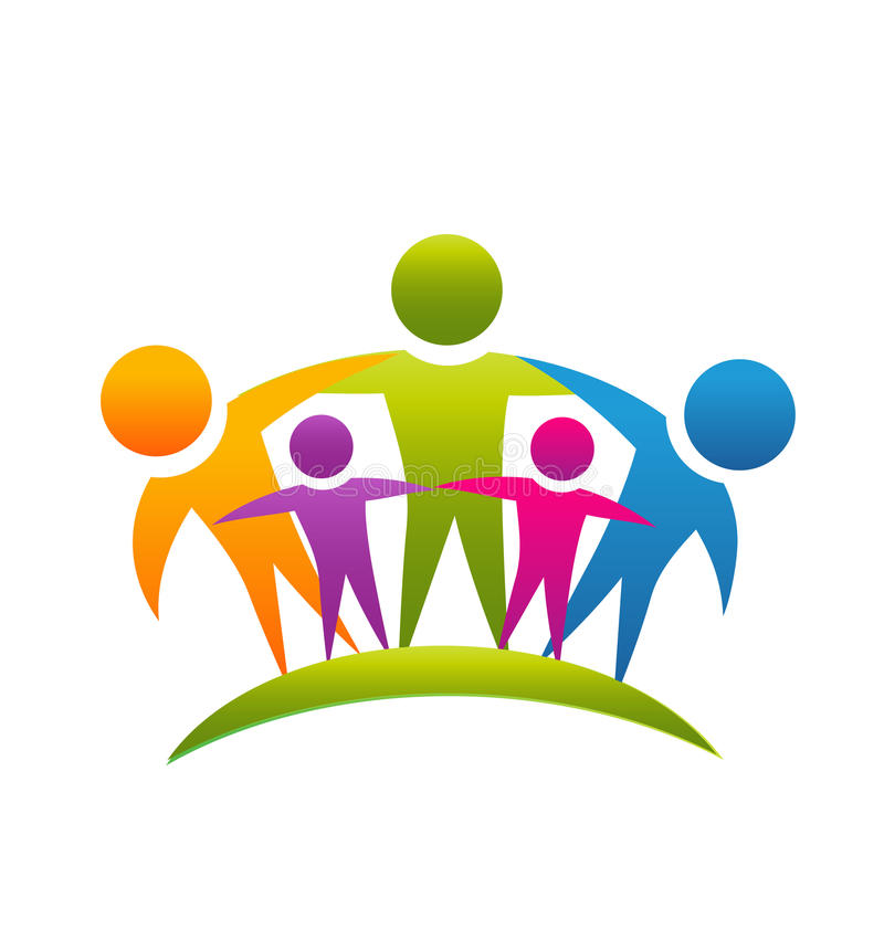 Teamwork-Leute, die Familienlogo umarmen lizenzfreie abbildung