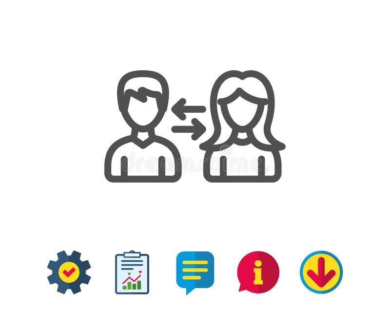 Teamwork line icon. Profile Avatar sign. vector illustration