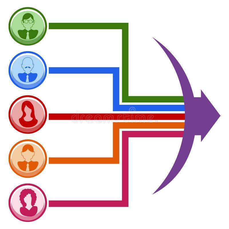 Teamwork-Linie Diagramm stock abbildung