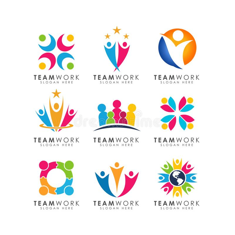 Teamwork logo design vector. organizational logo design vector illustration