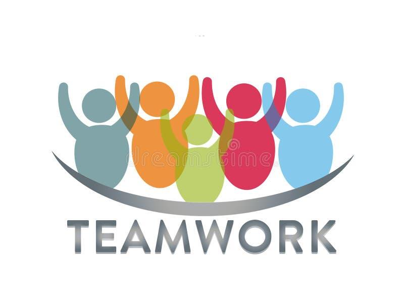 Teamwork logo icon symbol Group of friends stock illustration