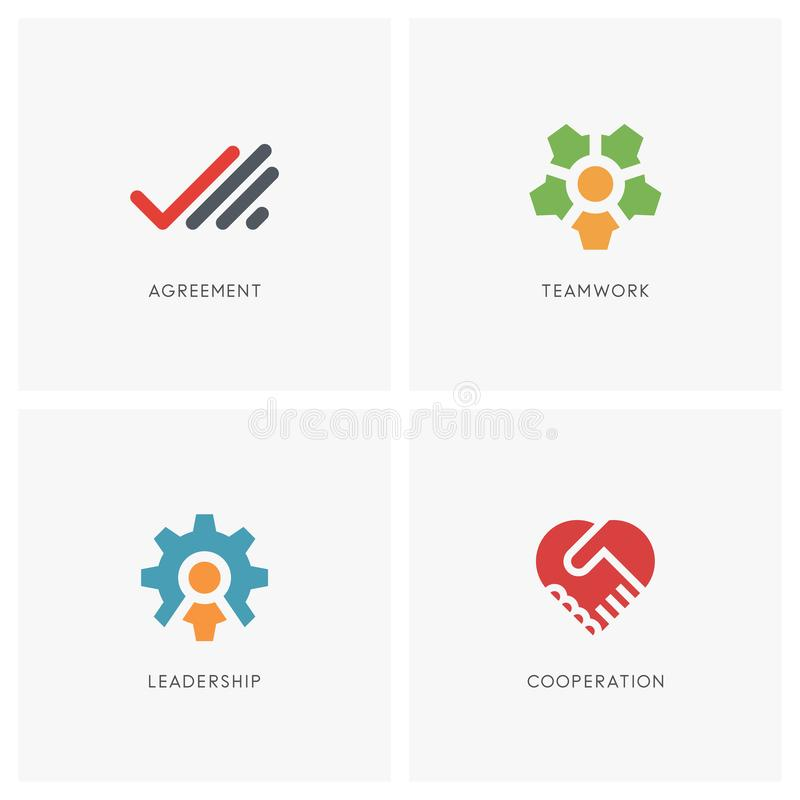 Teamwork logo set. Palm with checkmark, head with colleagues and gear wheel symbol, two hands make a deal and heart shape - business contract, cooperation vector illustration