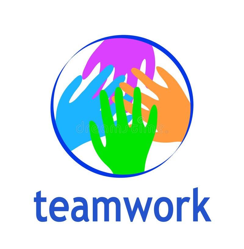 Teamwork-Logozusammenfassung zwei Handhelfen Kreisdesignvektor t stock abbildung