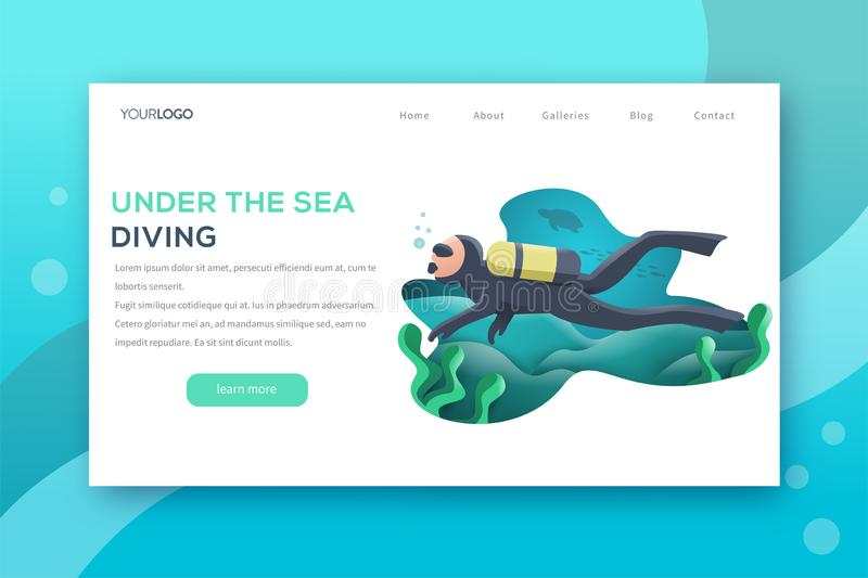 Underwater landing page royalty free illustration