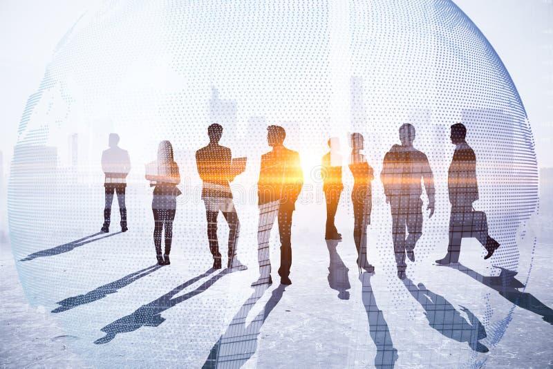 Teamwork, möte och global affärsidé royaltyfri illustrationer