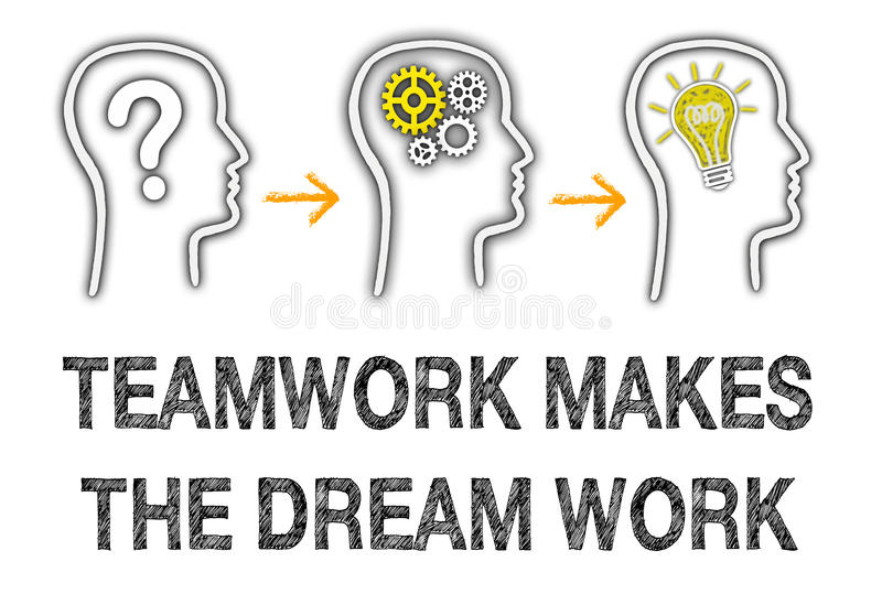 Teamwork makes the dream work. Abstract teamwork makes the dream work illustration, conceptual business thought process vector illustration