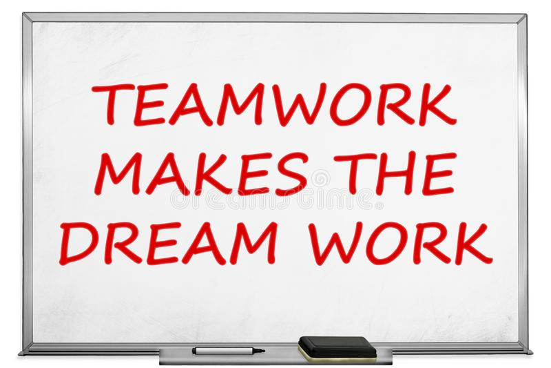 Teamwork makes the dream work, white board.  vector illustration