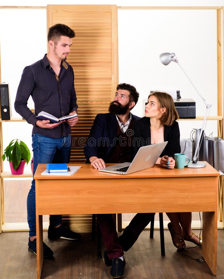 Teamwork makes the dreamwork. Teamwork in action. Business team working and communicating together at office desk royalty free stock images